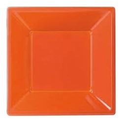 8 assiettes plastique carré orange 18x18cm